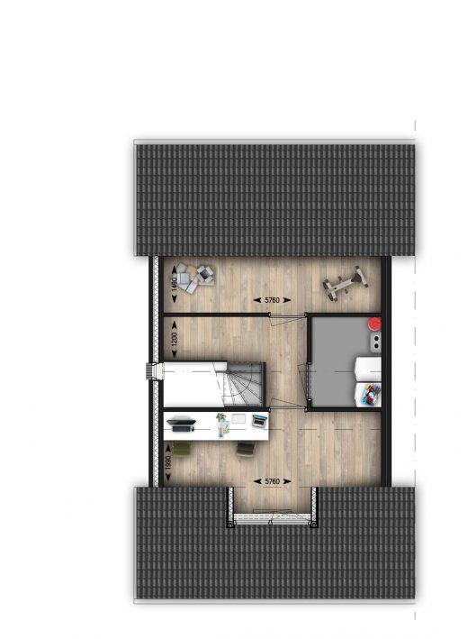 2e verdieping met indeling