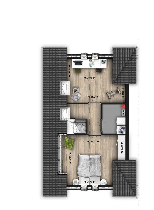 2e verdieping dwarskap met indeling