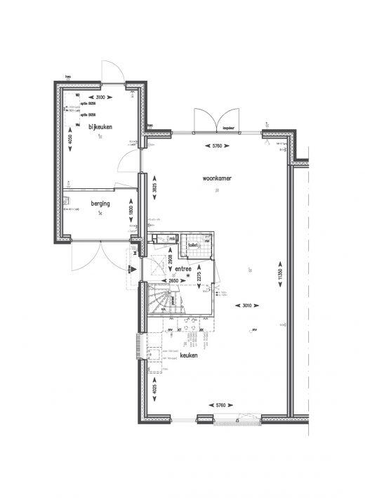 Begane grond met bijkeuken (met uitzondering van bouwnummers 83, 84 en 85)