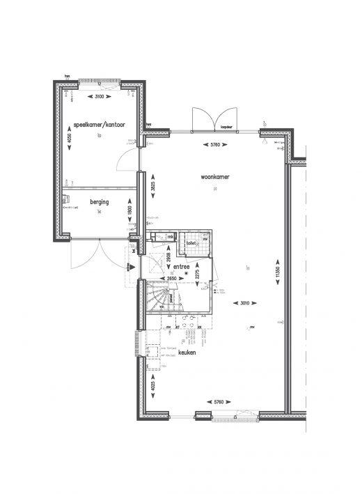 Begane grond met kantoor (met uitzondering van bouwnummers 83, 84 en 85)