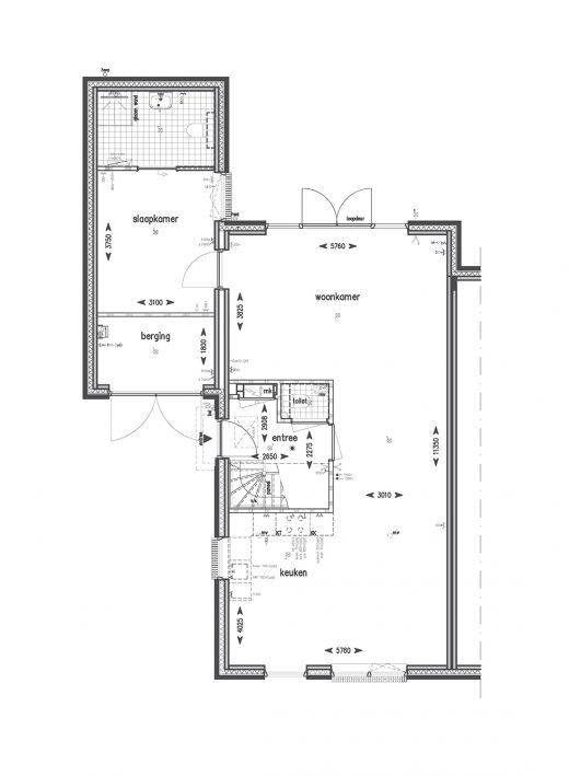 Begane grond met slaapkamer (met uitzondering van bouwnummers 83, 84 en 85)